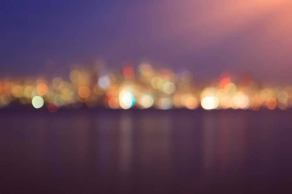Bokeh photo of Seattle city skyline
